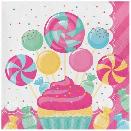 16 Serviettes de Table Candy 33 cm