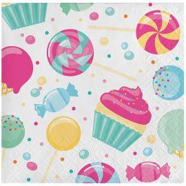 16 Serviettes de Table Candy 25 cm