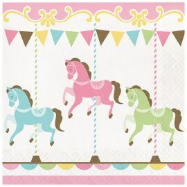 16 Serviettes Carrousel 33 cm