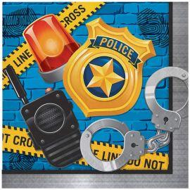 16 Serviettes Police 33cm