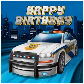 16 Serviettes Police Happy Birthday 33 cm