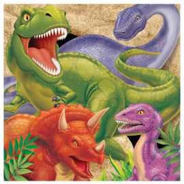 16 Serviettes Dinosaures 33 cm