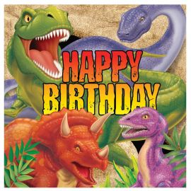 16 Serviettes Dinosaures Happy Birhtday 33 cm