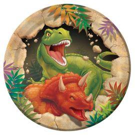 8 Assiettes Dinosaures 18 cm