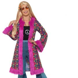 Manteau Hippie pour Femme à Fourrure Rose