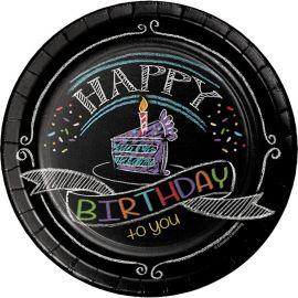 8 Platos Chalk Birthday 18 cm