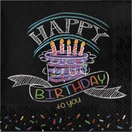 16 Servilletas Chalk Birthday 33 cm