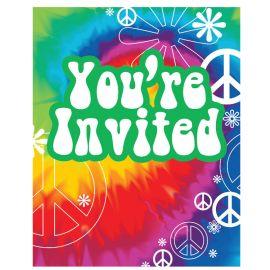8 Invitations Thème Hippie
