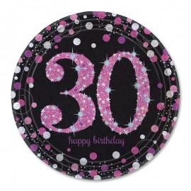 8 Assiettes 30 Elegant Pink 23 cm