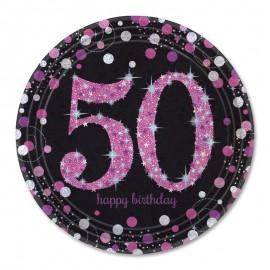 8 Assiettes 50 Elegant Pink 23 cm