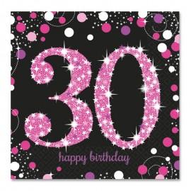 16 Serviettes 30 Elegant Pink 33 cm
