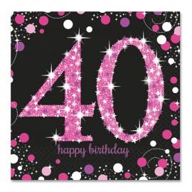 16 Serviettes 40 Elegant Pink 33 cm