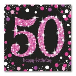 16 Serviettes 50 Elegant Pink 33 cm