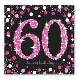 16 Serviettes 60 Elegant Pink 33 cm