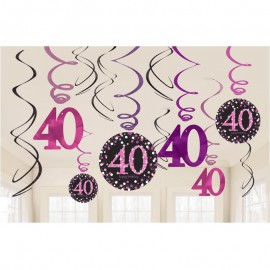 12 Pendentifs 40 Elegant Pink