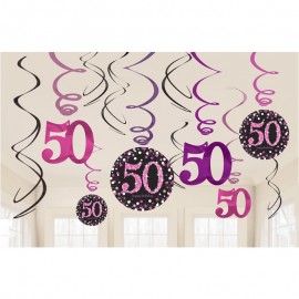12 Pendentifs 50 Elegant Pink