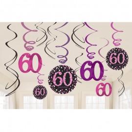 12 Pendentifs 60 Elegant Pink