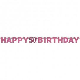 Guirlande Happy Birthday 50 Elelgant Pink