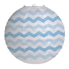 Lanterne Chevron Bleu Pastel 30,48 cm