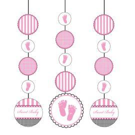 3 Pendentifs Sweet Baby Feet Pink