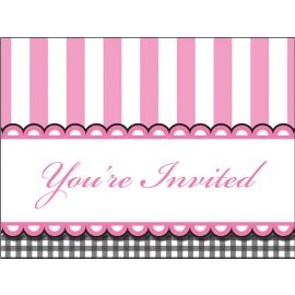 8 Invitations Sweet Baby Feet Pink