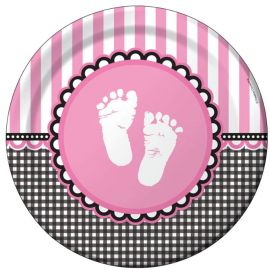8 Assiettes Sweet Baby Feet Rose 23 cm
