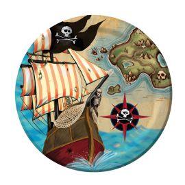 8 Assiettes Bateau Pirate 18 cm