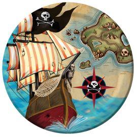 8 Platos Barco Pirata 23 cm