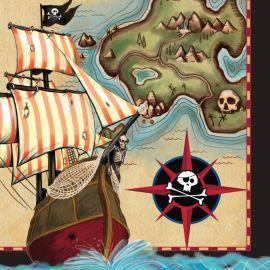 16 Serviettes Bateau Pirate 33 cm