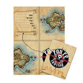 8 Invitations Bateau Pirate