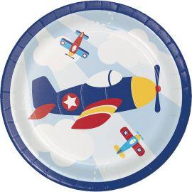 8 Platos Avionetas 18 cm