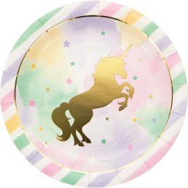 8 Platos Unicornio Sparkle 23 cm