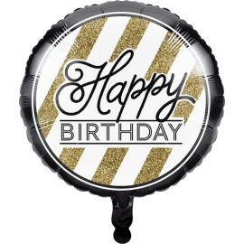 Ballon Happy Birthday Noir et Or 45 cm