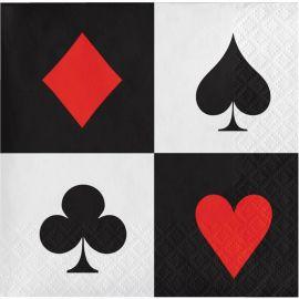 16 Serviettes Poker 25 cm