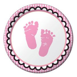 8 Assiettes Sweet Baby Feet Pink 18 cm
