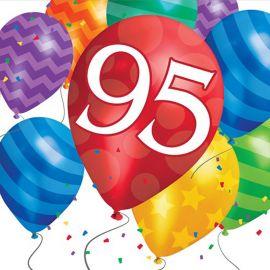 16 Serviettes Balloon Blast Anniversaire 95