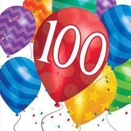 16 Serviettes Balloon Blast Anniversaire 100