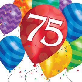 16 Serviettes Balloon Blast Anniversaire 75
