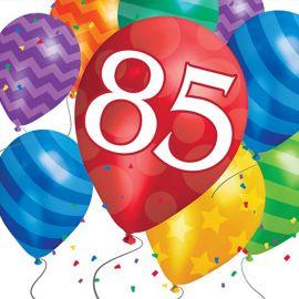 16 Serviettes Balloon Blast Anniversaire 85