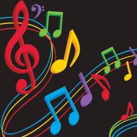 16 Serviettes Musique 25 cm