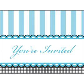 8 Invitations Bleues pour Bébé