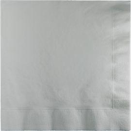 50 Serviettes de Couleur Argent 33 cm