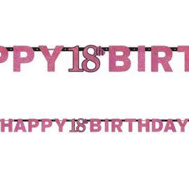 Guirlande Happy Birthday 18 Elegant Pink