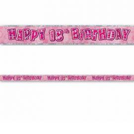 Pancartes Happy Birthday 18 Ans Rose Glitz