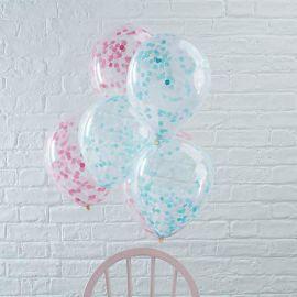 5 Ballons avec Confettis 30 cm