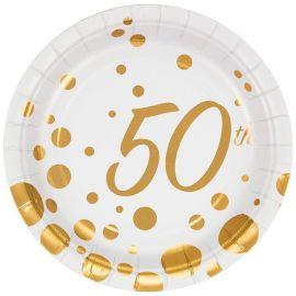 8 Assiettes Anniversaire 50 Ans 18 cm