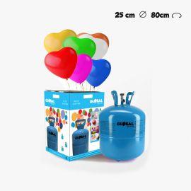 Petite Bouteille d'Hélium avec 30 Ballons Coeur
