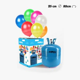 Bouteille d'Hélium Petite avec 30 Ballons Métallisés