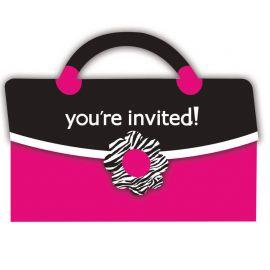 8 Invitations Sac Pink Zebra