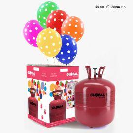 Grande Bouteille d'Hélium avec 50 Ballons à Pois